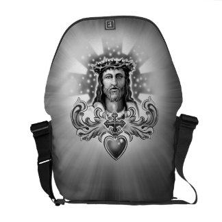 Diseño sagrado del corazón del Jesucristo Bolsas De Mensajería
