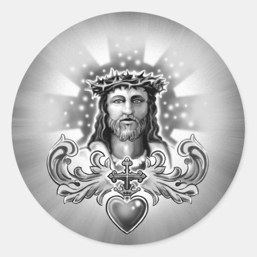 Diseño sagrado del corazón del Jesucristo Pegatina Redonda