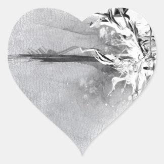 Diseño salvaje blanco y negro abstracto pegatina en forma de corazón