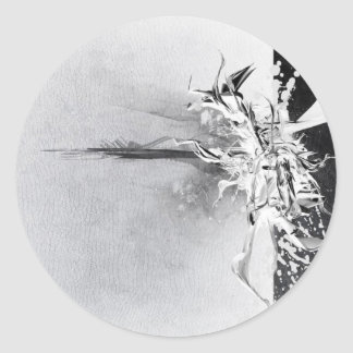 Diseño salvaje blanco y negro abstracto pegatina redonda