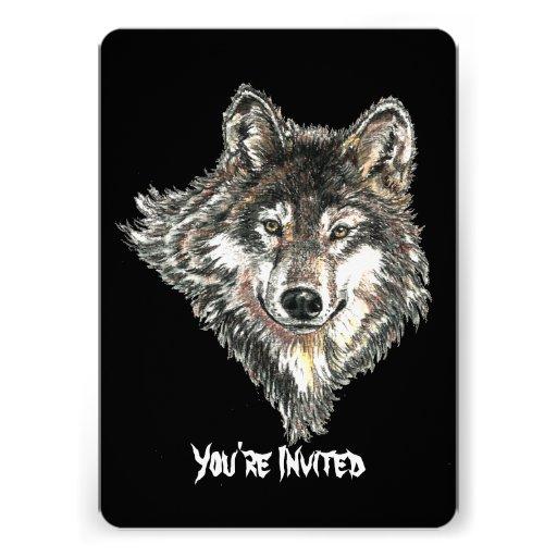 Diseño salvaje de la cabeza del lobo de la acuarel comunicados personales