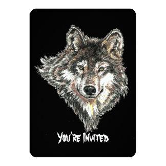 """Diseño salvaje de la cabeza del lobo de la invitación 5"""" x 7"""""""