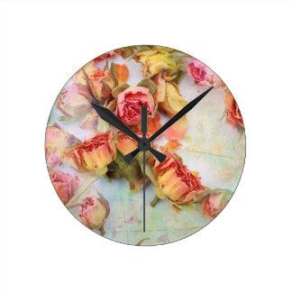 Diseño seco del vintage de los rosas relojes de pared