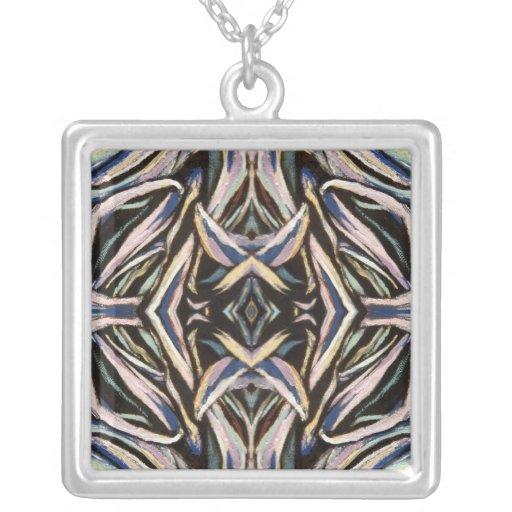 Diseño simétrico de la plata del negro del arte ab colgante cuadrado