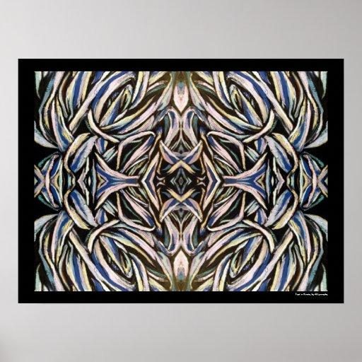 Diseño simétrico de la plata del negro del arte ab póster