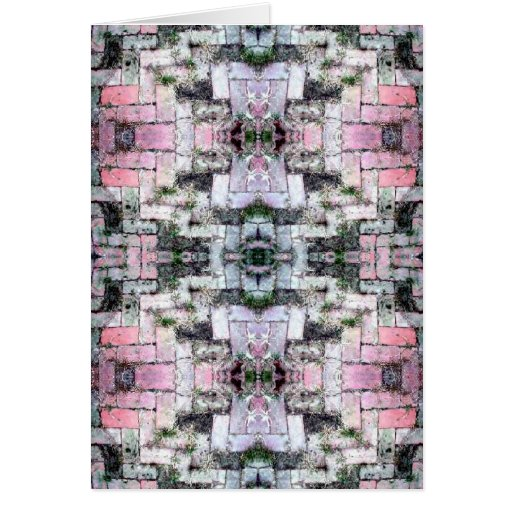 Diseño simétrico de los ladrillos del mosaico rosa tarjeta de felicitación