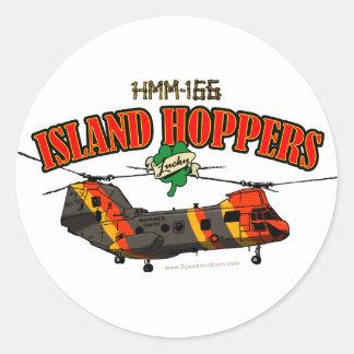 Diseño simple de las tolvas de la isla pegatina redonda
