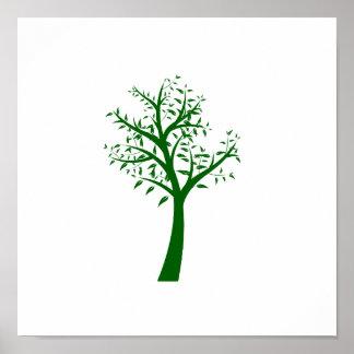 Diseño simple eco.png del árbol verde póster