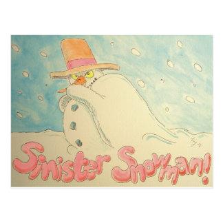 Diseño siniestro del navidad del muñeco de nieve postal