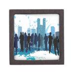 Diseño social impresionante en azul cajas de recuerdo de calidad