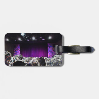 Diseño solarized etapa púrpura del teatro etiquetas bolsas