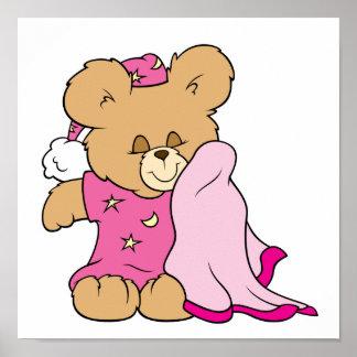diseño soñoliento del oso de peluche del chica de  póster