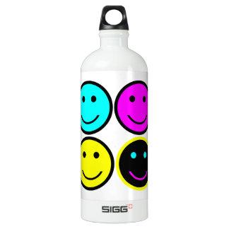 diseño sonriente de la cara del cmyk lindo botella de agua