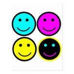 diseño sonriente de la cara del cmyk lindo postal
