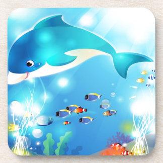 Diseño subacuático de las ilustraciones del delfín posavasos de bebida