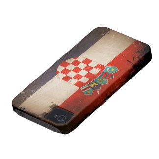 Diseño sucio fresco de la bandera de Croacia del Carcasa Para iPhone 4 De Case-Mate