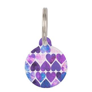 Diseño sucio púrpura y azul de la MOD de los Identificador Para Mascotas
