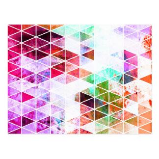 Diseño sucio rosado del triángulo postales