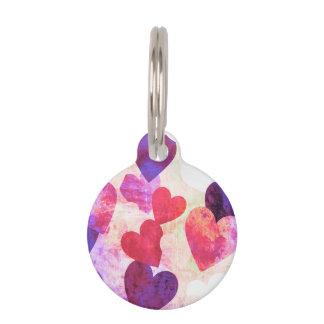 Diseño sucio rosado y púrpura fabuloso de los identificador para mascota