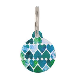 Diseño sucio verde y azul de la MOD de los Placa Para Mascotas