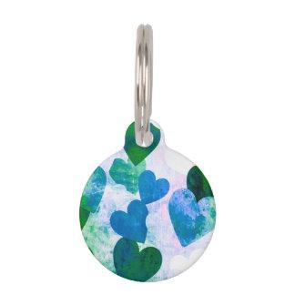 Diseño sucio verde y azul fabuloso de los identificador para mascotas