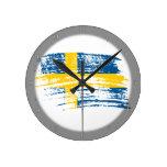 Diseño sueco fresco de la bandera reloj de pared