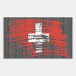 Diseño suizo fresco de la bandera pegatina rectangular