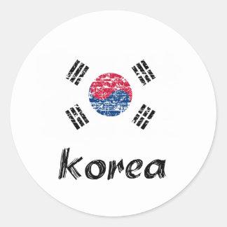 Diseño surcoreano de la bandera pegatina redonda