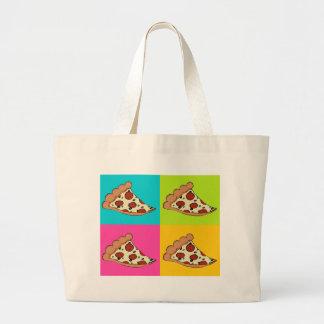 Diseño tejado rebanadas de la pizza bolsa tela grande
