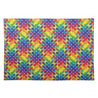 Diseño tejido arco iris del modelo manteles individuales