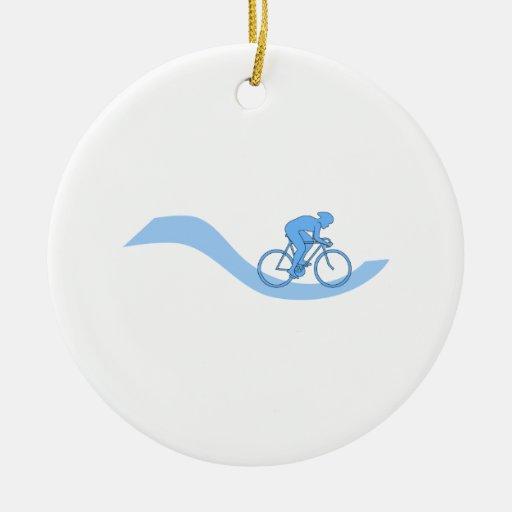 Diseño temático de ciclo elegante en azul adornos de navidad