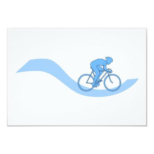 Diseño temático de ciclo elegante en azul invitación 8,9 x 12,7 cm
