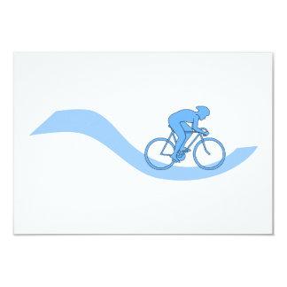 """Diseño temático de ciclo elegante en azul invitación 3.5"""" x 5"""""""