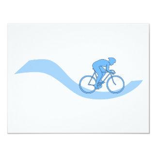 """Diseño temático de ciclo elegante en azul invitación 4.25"""" x 5.5"""""""