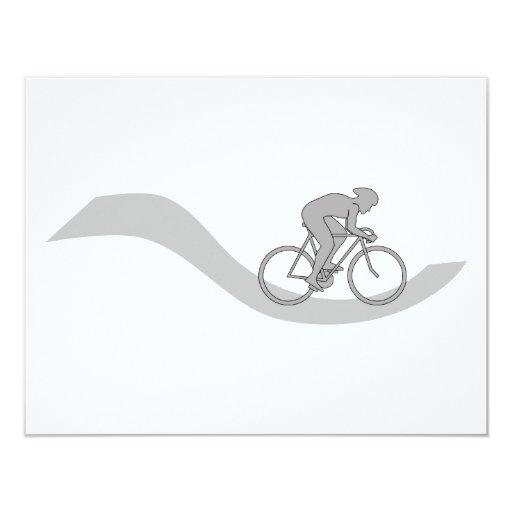 """Diseño temático de ciclo elegante en gris invitación 4.25"""" x 5.5"""""""