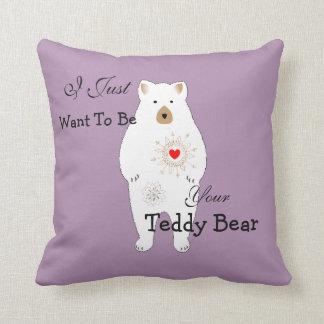Diseño temático romántico lindo del oso de peluche almohada