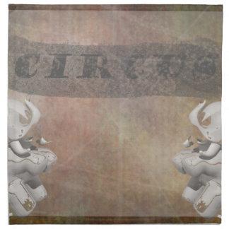 Diseño, texto y elefantes del circo en esquina servilletas