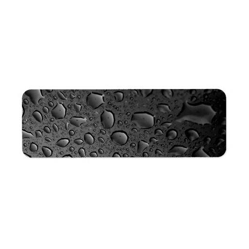 Diseño texturizado de las gotitas de agua del etiqueta de remite