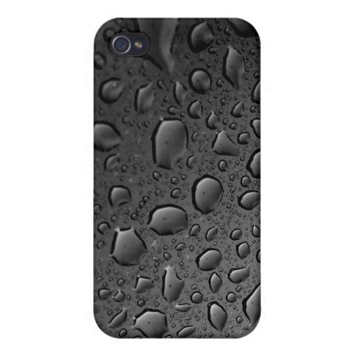 Diseño texturizado de las gotitas de agua del negr iPhone 4 cárcasa