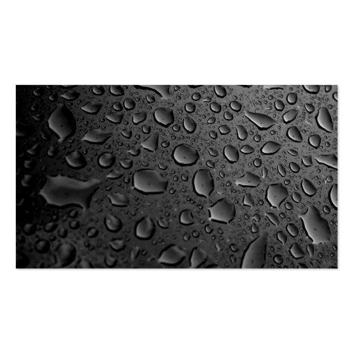 Diseño texturizado de las gotitas de agua del negr tarjeta de negocio