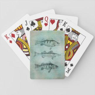 Diseño texturizado madera de los pescados de la barajas de cartas