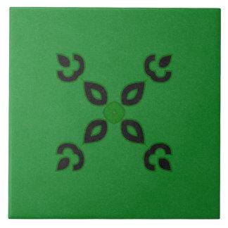 Diseño texturizado negro y verde de la baldosa azulejo cuadrado grande