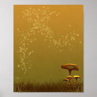 Diseño texturizado Toadstool del fondo del otoño ( Póster