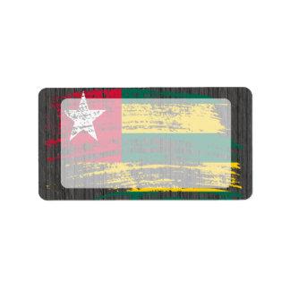 Diseño togolés fresco de la bandera etiquetas de dirección