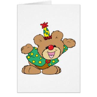 diseño tonto del oso de peluche del payaso felicitación