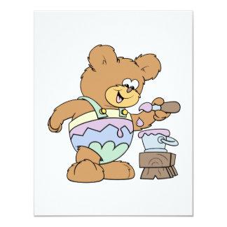 """diseño tonto lindo del oso de peluche del huevo de invitación 4.25"""" x 5.5"""""""