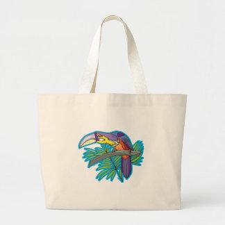 diseño toucan colorido bolsa tela grande