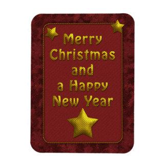 Diseño tradicional del navidad del rojo y del oro rectangle magnet