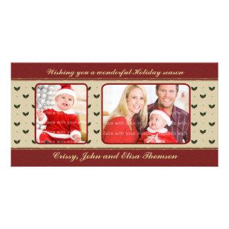 Diseño tradicional del navidad plantilla para tarjeta de foto