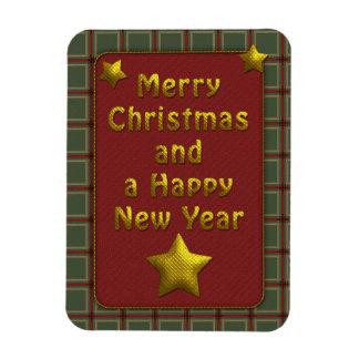Diseño tradicional festivo del navidad de la tela  rectangle magnet